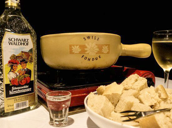swiss cheese fondue at blue abyss restaurant